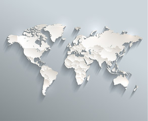 World political map 3D vector individual states separate - fototapety na wymiar