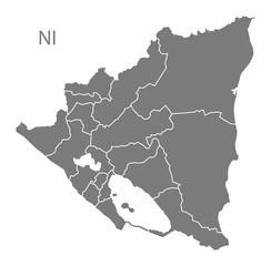 Nicaragua regions Map grey