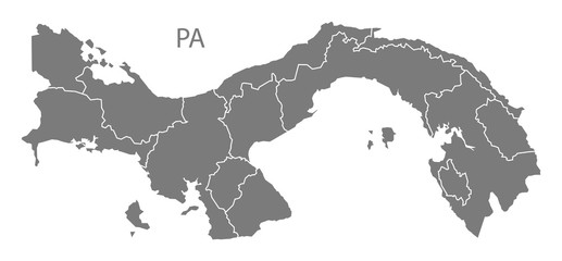 Panama provinces Map grey