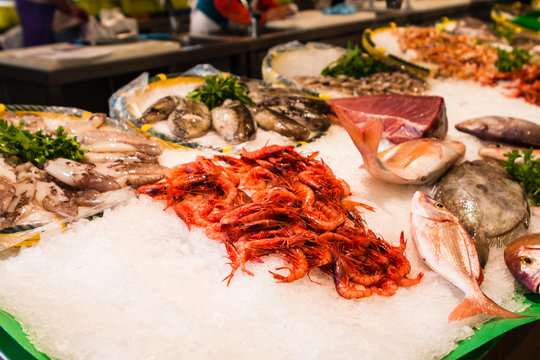 Extensive selection of fish on local spanish seafood market