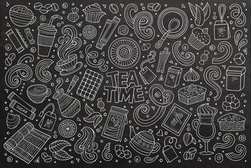 Vector doodle cartoon set of tea and coffe