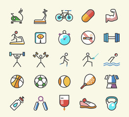 Set of 25 Minimalistic Solid Line Coloured Sport and Fitness Icons. Isolated Vector Elements.