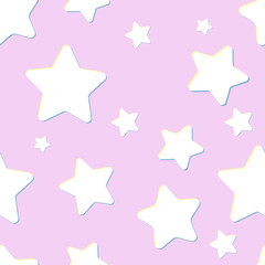 pink seamless pattern with night sky and white cartoon stars