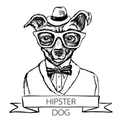 Illustration of dog hipster with tattoo dressed up in t-shirt with quote vector