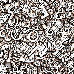 Cartoon hand-drawn doodles on the subject of Art style theme