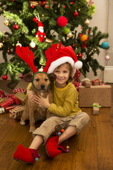 Little Boy And His Dog At Christmas