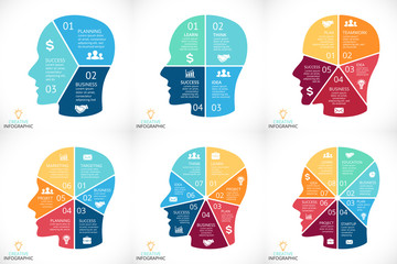 Vector brain infographics set. Template for human head diagram, graph, presentation and face chart. Business idea concept with 3, 4, 5, 6, 7, 8 options, parts, steps or processes. Brainstorming.