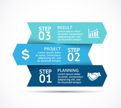 Vector arrows infographic, diagram chart, graph presentation. Business concept with 3 options, parts, steps, processes.