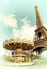 Vintage postcard of Eiffel tower, Paris. France