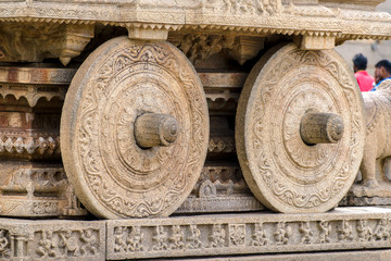 Big wheels of stone chariot in Vittala temple, Hampi, India