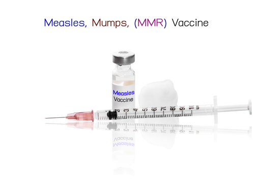 Measles, Mumps, MMR Vaccine with needle Medical ampoules vial and syringe for health concept background