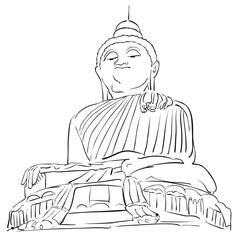 Big Buddha Phuket Outline Sketch