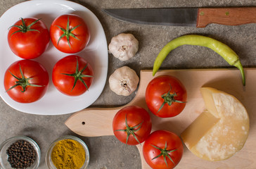 Vegetables, spices and cheese, gourmet organic food