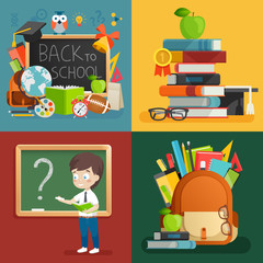 Wall Mural - School theme set. Back to school, backpack, schoolboy and other elements.