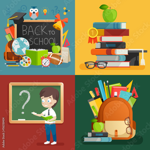 Wall mural School theme set. Back to school, backpack, schoolboy and other elements.