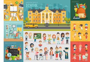 Wall Mural - School theme set. Back to school, workplace, school kids and other elements.
