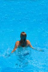woman in bikini at the pool