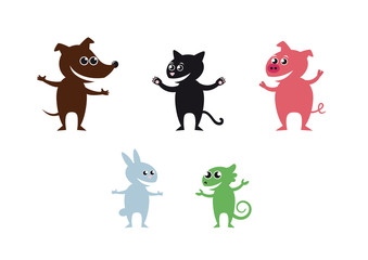 Cheerful pets. Set of icons animals. Vector cartoon animals