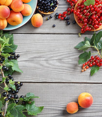 Set of  fresh fruits, berries and branches with currant  on wooden table. Top view, high resolution product.