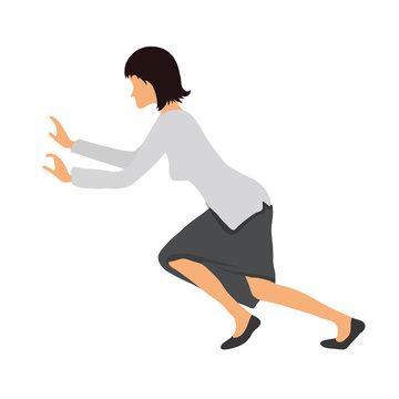 Bussineswoman woman pushing something. Vector illustration.
