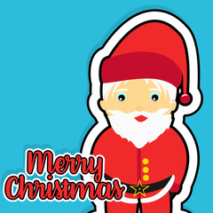 Merry Christmas and Cute Santa Claus. Flat blue color background