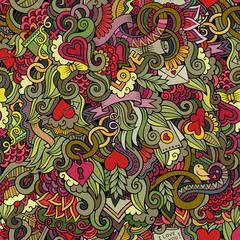 Doodles Love vector seamless pattern