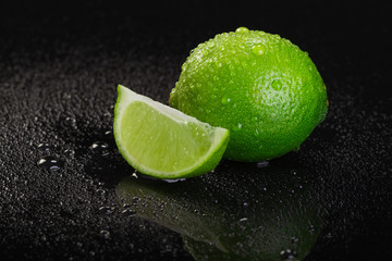 Lime on Black Background