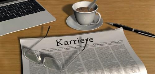 Zeitung auf Schreibtisch - Karriere
