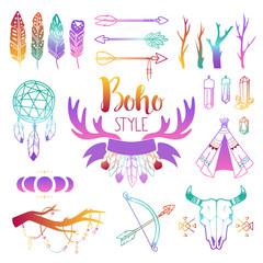 Hand drawn boho design elements set. Wild style labels with vintage arrows, feathers. Vector decoration, divider, frame boho symbols border design. Vintage decoration ornament ethnic boho symbols