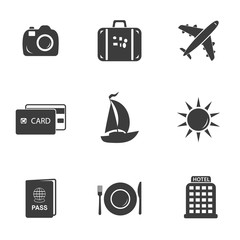 Travel and tourism set icons. Travel and tourism set Vector icons isolated on white background. Flat vector illustration in black. EPS 10
