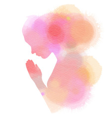 Watercolor of a girl praying or meditating. Digital art painting