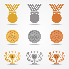 Gold silver bronze medal and trophies Olive wreath (solid color) vector set design on white background