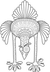 Crazy ostrich with doodle pattern, cartoon vector illustration, Contour image for antistress coloring book.