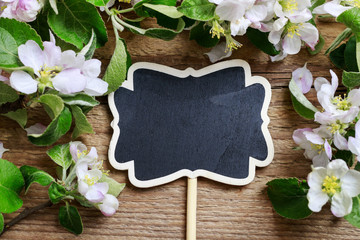 Blank blackboard label and flowering twigs of apple tree on wood