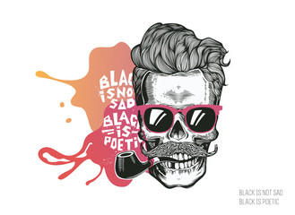 Photo sur Aluminium Crâne aquarelle Skull. Hipster silhouette with mustache glasses and tobacco pipe on a colorful splash background. Vector illustration in modern engraving style. Perfect for t-shirt print, posters