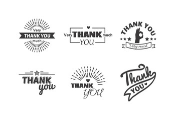 Vintage label with thank you text vector set. Thank you text design label card lettering type banner symbol. Letter typography thank you handwritten decorative calligraphic message text.