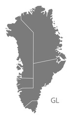 Greenland regions Map grey