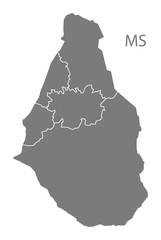 Montserrat regions Map grey