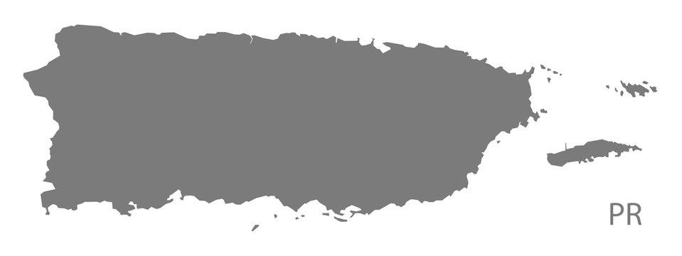 Puerto Rico Map grey