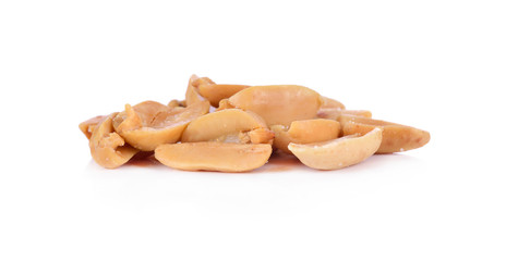 Processed peanuts isolated on white background