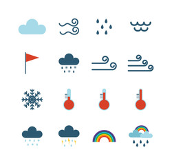 Weather icons thin line style flat design travel storm fog cold rainy climate. Weather thin icons cloud flat design. Snowflake wind, sun, web temperature nature forecast weather thin icons.