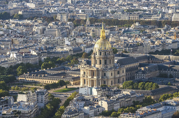 Aerial view of Notre dam taken from Montparnasse Tower in Paris, France