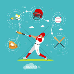 Baseball player with equipment. Sport concept vector illustration in flat style design. Uniform, helmet, ball and bat.