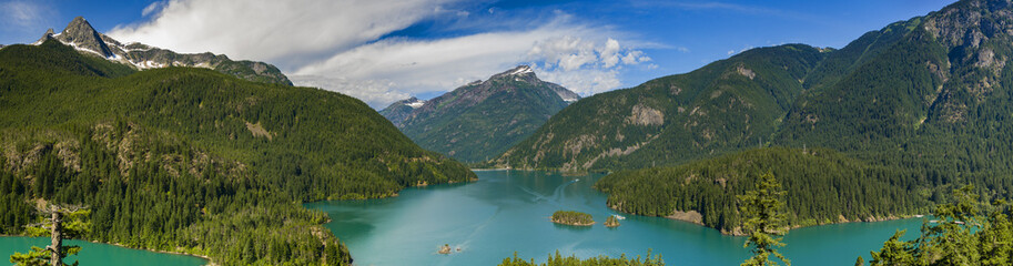 Diablo Lake. Created by Diablo Dam, the lake is located between Ross Lake and Gorge Lake on the Skagit River. The unique, intense turquoise hue is from glacial rock ground to a fine powder. Wall mural