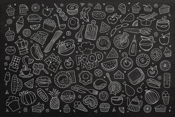 Foods doodles hand drawn chalkboard vector symbols