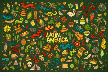 Sketchy vector hand drawn Doodle Latin American objects