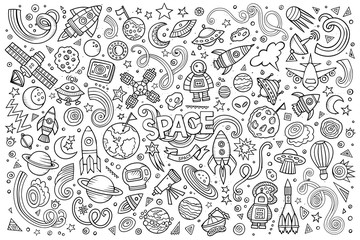 Sketchy vector hand drawn doodles cartoon set of Space objects