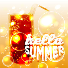 "Bubbles in water. Circle and liquid, light design, clear soapy shiny, vector illustration. ""Hello Summer"" typographic design"