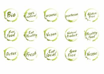 Set of Healthy Food Symbols. Vector Bio, Natural, Organic, Vegetarian, Gluten Free, Raw , Eat , Vegan,  Product, Detox, Fresh
