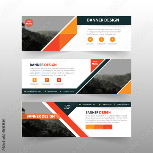 orange black triangle abstract corporate business banner template horizontal advertising business banner layout template flat